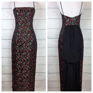 Vintage Gunne Sax Rose Printed Evening Dress